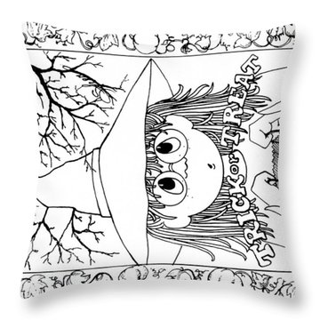 Color Me Card - Halloween Throw Pillow