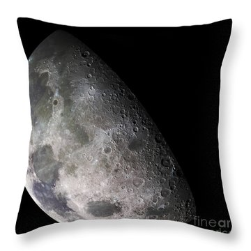 Color Mosaic Of The Earths Moon Throw Pillow by Stocktrek Images