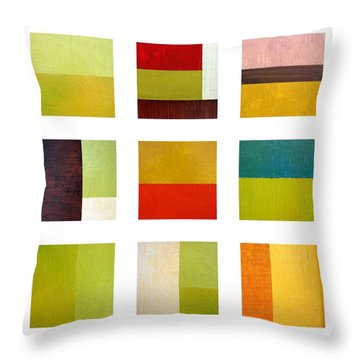 Color Study Abstract Collage Throw Pillow by Michelle Calkins