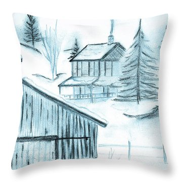 Throw Pillow featuring the drawing Colorado Farm by Shannon Harrington