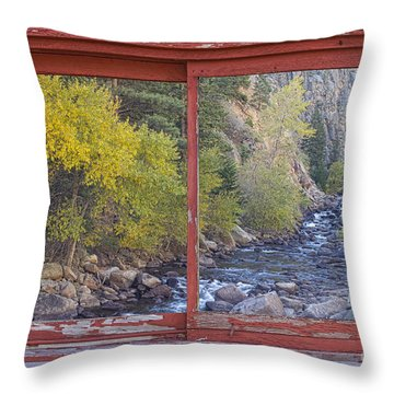Colorado St Vrain Canyon Red Rustic Picture Window Frame Photos  Throw Pillow by James BO  Insogna