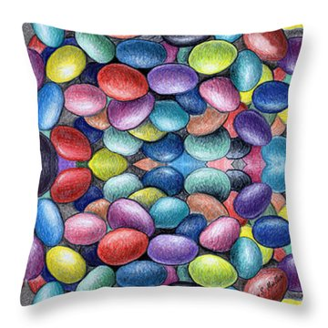 Colored Beans Design Throw Pillow by Nancy Mueller