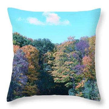 Colored Trees Throw Pillow by Dyana Rzentkowski