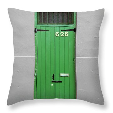 Colorful Arched Doorway French Quarter New Orleans Color Splash Black And White Throw Pillow by Shawn O'Brien