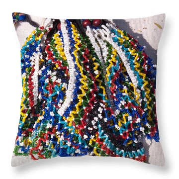 Colorful Beads Jewelery Throw Pillow by Ashish Agarwal