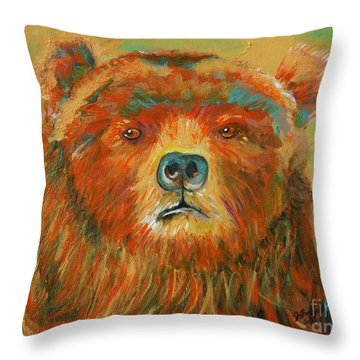 Colorful Bear Throw Pillow