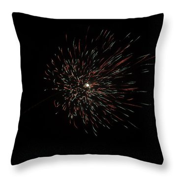 Colorful Burst Of Firecrackers High In The Sky Throw Pillow by Ashish Agarwal