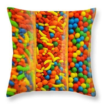 Colorful Candies Throw Pillow by Farah Faizal