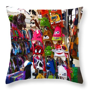Throw Pillow featuring the photograph Colorful Character Hats by Kym Backland