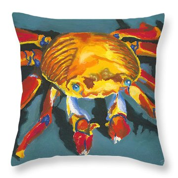 Colorful Crab With Border Throw Pillow by Stephen Anderson
