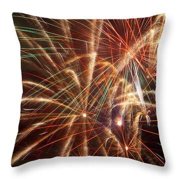 Colorful Fireworks Throw Pillow by Garry Gay