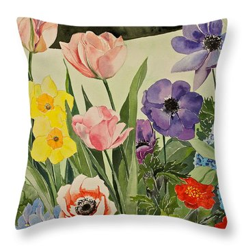 Colorful Flowers-posthumously Presented Paintings Of Sachi Spohn  Throw Pillow