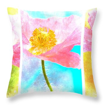 Colorful Flowers Triptych Throw Pillow