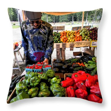 Colorful Fruit And Veggie Stand Throw Pillow by Kym Backland