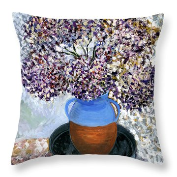 Colorful Impression Of Purple Flowers In Blue Brown Ceramic Vase Yellow Plate With Green Branches  Throw Pillow by Rachel Hershkovitz