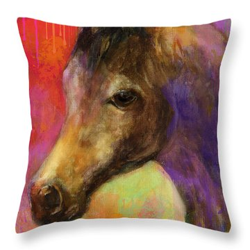 Colorful Impressionistic Pensive Horse Painting Print Throw Pillow