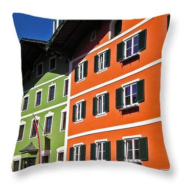 Colorful Kitzbuehel - Austria Throw Pillow by Juergen Weiss
