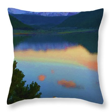 Colorful Lake Sunset Throw Pillow