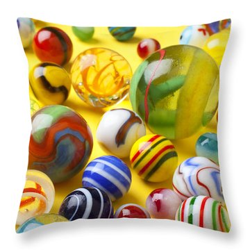 Colorful Marbles Throw Pillow by Garry Gay