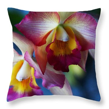 Colorful Orchids Throw Pillow by Kerri Ligatich