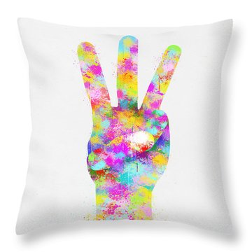 Colorful Painting Of Hand Point Three Finger Throw Pillow by Setsiri Silapasuwanchai