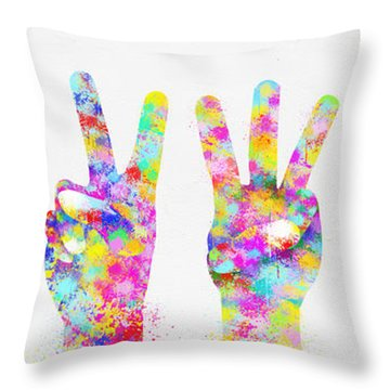 Colorful Painting Of Hands Number 0-5 Throw Pillow by Setsiri Silapasuwanchai