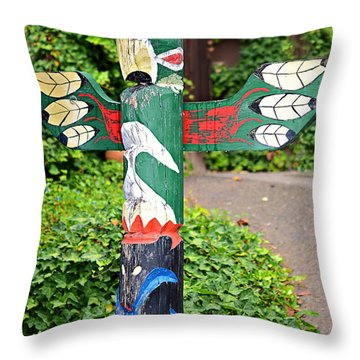 Colorful Totem Throw Pillow by Susan Leggett