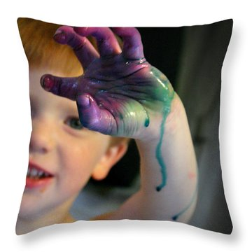 Colorful Trouble Throw Pillow