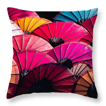 Throw Pillow featuring the photograph Colorful Umbrella by Luciano Mortula
