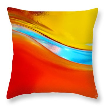 Colorful Wave Throw Pillow by Carlos Caetano