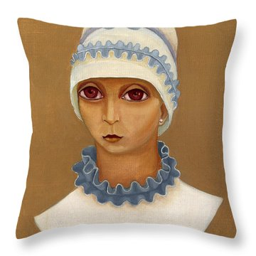 Colorful Young Woman Brown Eyes Blue White Hat Collar  With Ribbon Small Lips Throw Pillow by Rachel Hershkovitz