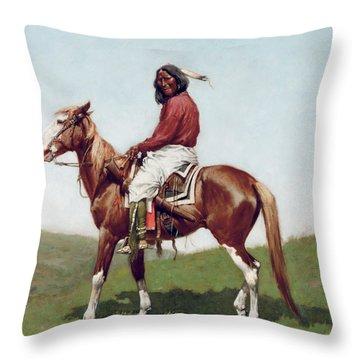 Comanche Brave Throw Pillow by Frederic Remington