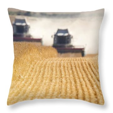 Combines Harvesting Field, North Throw Pillow by John Short