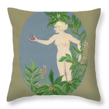 Come And Get It Eva Offers A Red Apple  To Adam In Green Vegetation Leaves Plants And Flowers Blond  Throw Pillow by Rachel Hershkovitz