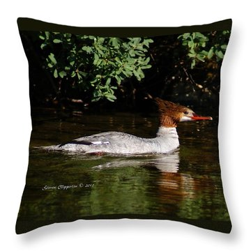 Common Merganser Throw Pillow by Steven Clipperton