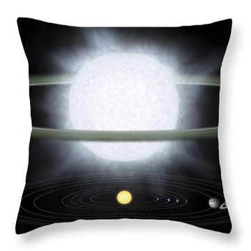 Comparison Of The Size Of A Hypergiant Throw Pillow by Stocktrek Images