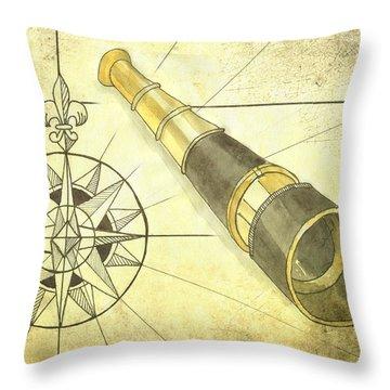 Compass And Monocular Throw Pillow
