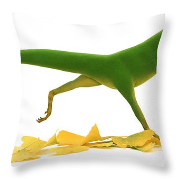 Compsognathus Throw Pillow by Jane Burton and Warren Photographic and Photo Researchers