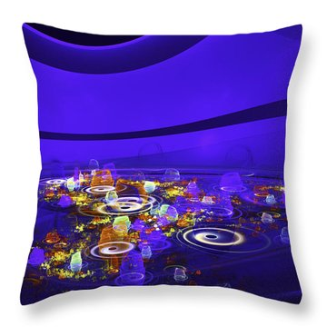 Computer Generated Blue Abstract Fractal Flame Modern Art Throw Pillow by Keith Webber Jr