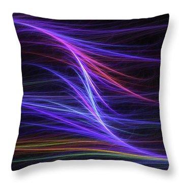 Computer Generated Blue Magenta Abstract Fractal Flame Modern Art Throw Pillow
