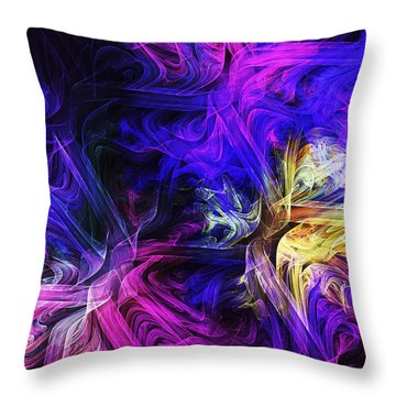 Computer Generated Blue Pink Abstract Fractal Flame Throw Pillow