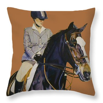 Concentration - Hunter Jumper Horse And Rider Throw Pillow by Patricia Barmatz