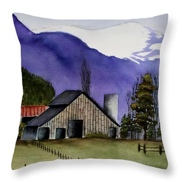 Concrete Barn Watercolor Throw Pillow by Mary Gaines