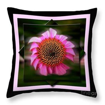 Coneflower Geometric Throw Pillow by Sue Stefanowicz