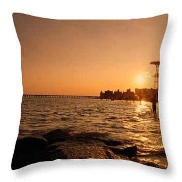 Coney Island Beach Sunset - New York City Throw Pillow by Vivienne Gucwa