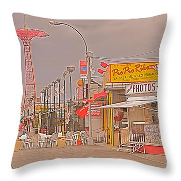 Coney Island Boardwalk Throw Pillow by Mark Gilman
