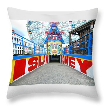 Coney Island Sign Throw Pillow by Mark Gilman