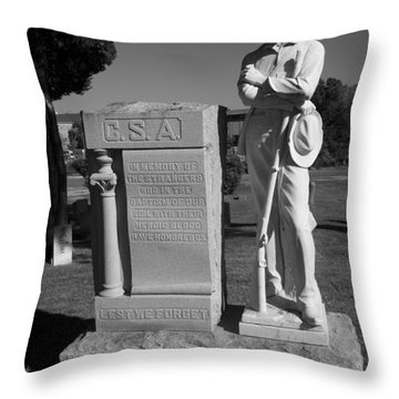 Confederate Soldier Memorial Throw Pillow by Kathy Clark