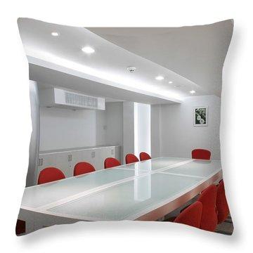 Conference Room Interior Throw Pillow by Setsiri Silapasuwanchai