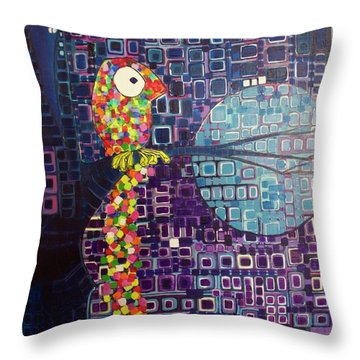 Throw Pillow featuring the painting Confetti Bird by Donna Howard
